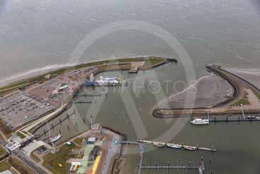 Aerial view harbor Lauwersoog at Dutch coast Wadden Sea
