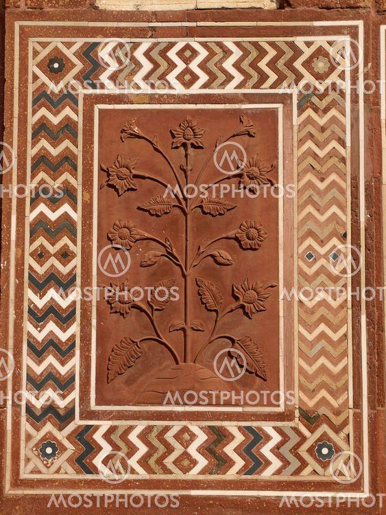 Sandstone carving at Taj Mahal