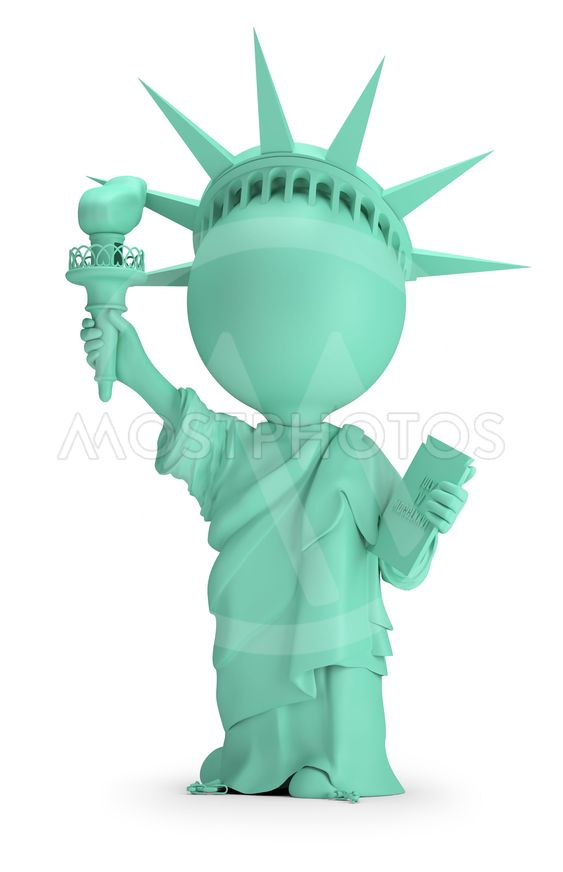 3d small people - Statue of Liberty