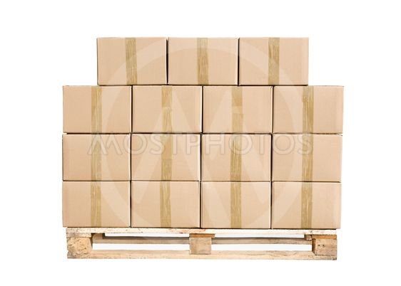 Cardboard boxes on wooden palette on white