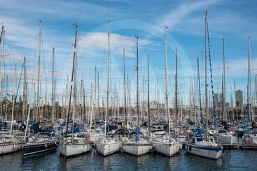 Yachts moored at Barcelona marina in Spain
