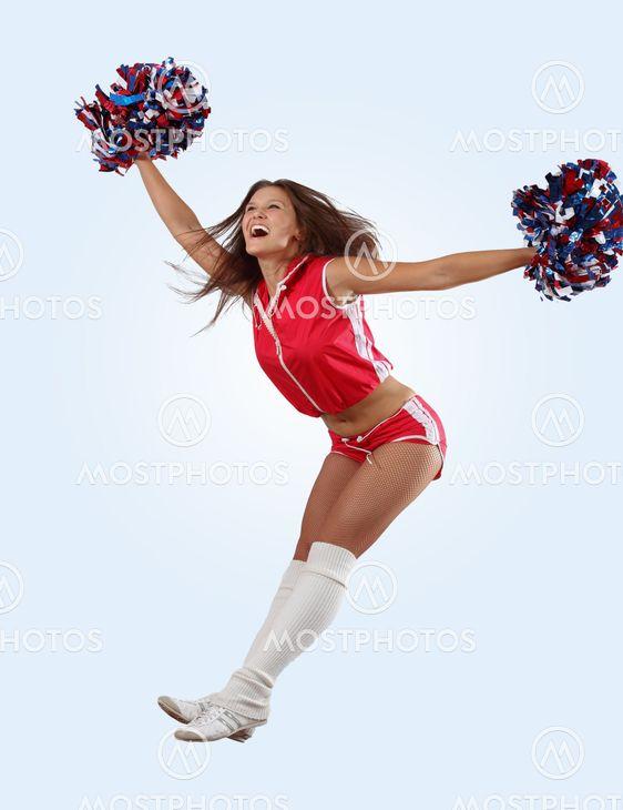 cheerleader tyttö hyppää