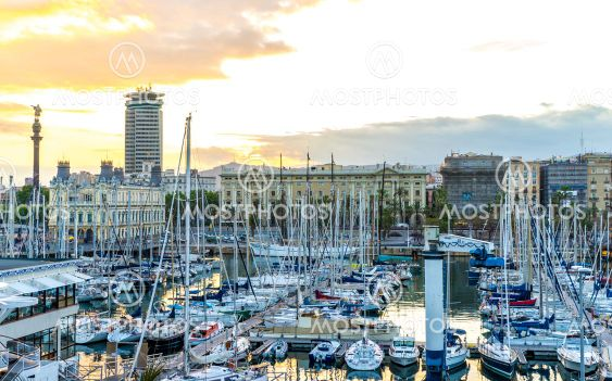 View on the Sunset in the harbour of Barcelona