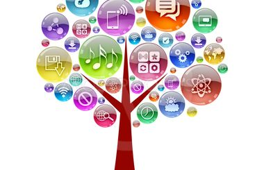 Silhouette of a tree consisting of apps icons
