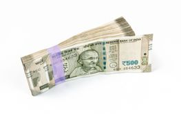 Bundle of 500 rupee Indian Currency