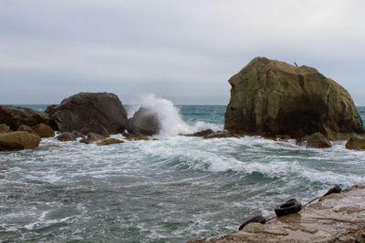 Black sea coastline before storm