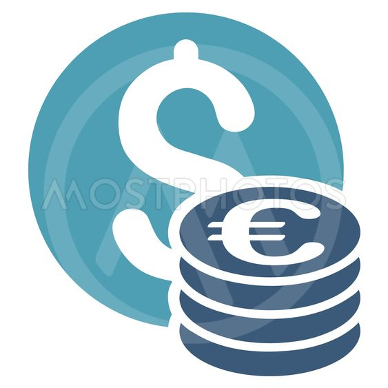 Dollar and Euro Coins Flat Vector Icon