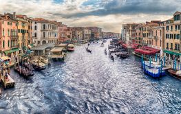 View of the Grand Canal from Rialto Bridge, Venice, Italy