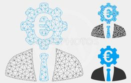 Euro Banker Vector Mesh Carcass Model and Triangle...