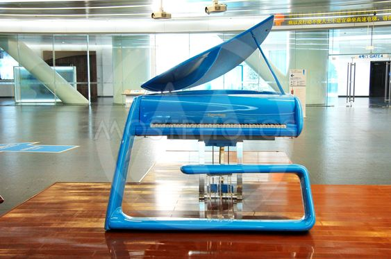 Blue hi-tech grand piano in the hall of Canton tower