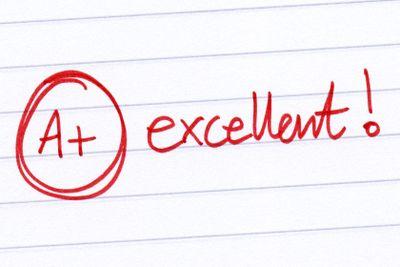 A+ excellent written on an exam paper.