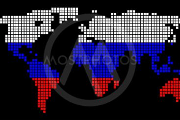 Russia Colors Dot World Map