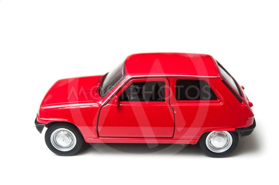 red renault 5 miniature toy on white background