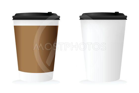 Mockup of coffee cup set.