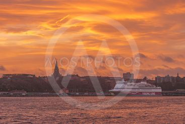 Harbour of Stockholm during evening with a Viking Line...