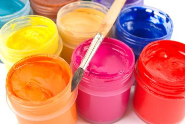 Paints and paintbrush