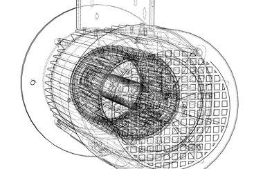 Electric motor sketch. Vector