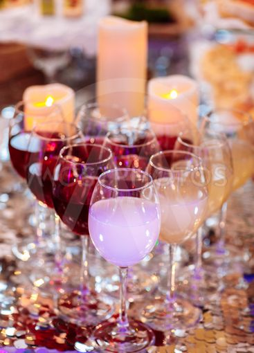 Wine glass at the party. Beautiful row line of different...