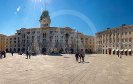 Trieste, Italy - April 19, 2019: Big square in Trieste...