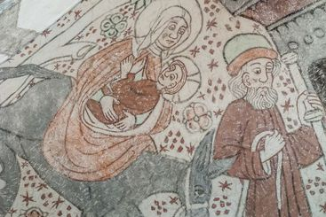 The flight to Egypt, a medieval fresco in an ancient church