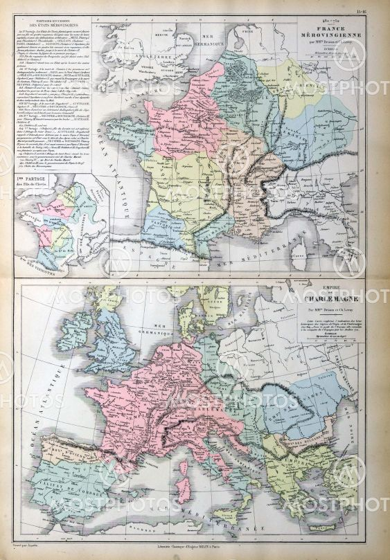 Old map of France, Italy, S...