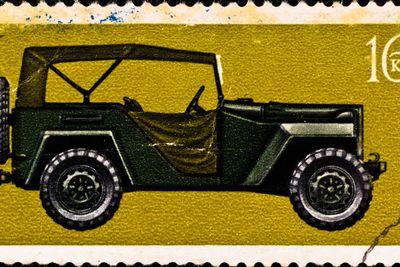 """postage stamp shows vintage car """"GAZ-67B"""""""