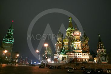 Moscow Russia Red Square at night