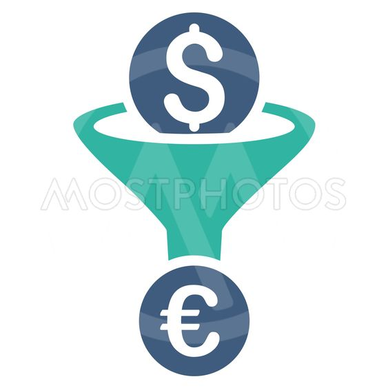 Dollar Euro Conversion Funnel Flat Vector Icon