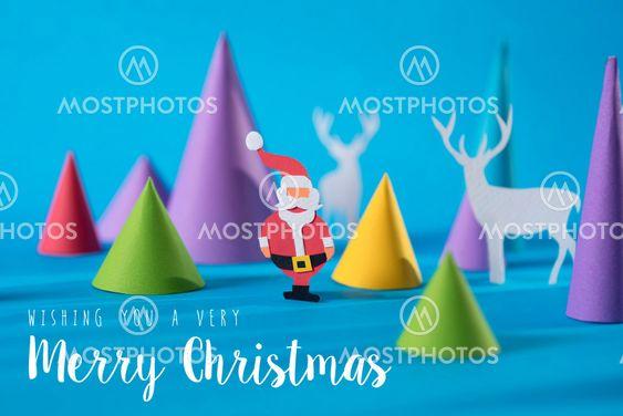 Merry christmas handmade paper cut santa deer card
