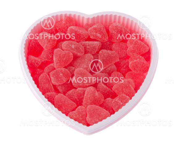 Röda godis hjärtan