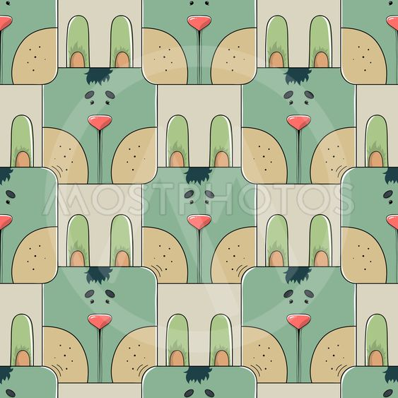 Seamless pattern the face of a cute rabbit
