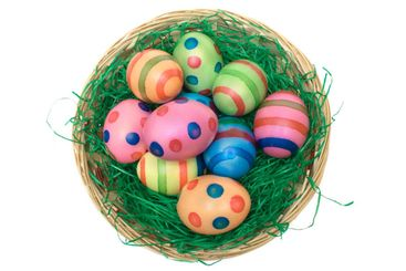 Basket with Colored Eggs (Top View)