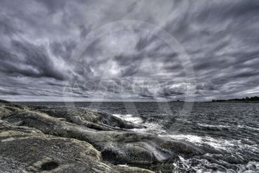Clouds and rocks.