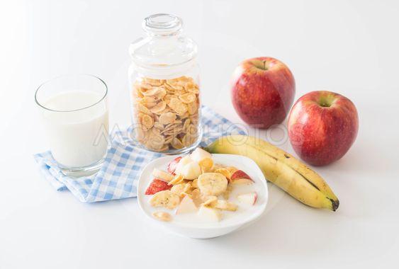 milk, apple, banana and cornflakes