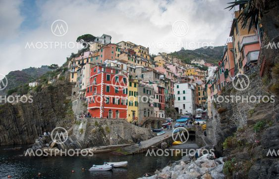 Village of Manarola with colourful houses at the edge of...
