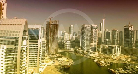 Dubai Marina aerial skyine at sunset, UAE