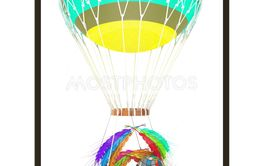 Hot Colored Air Balloon with a basket of multicolored...