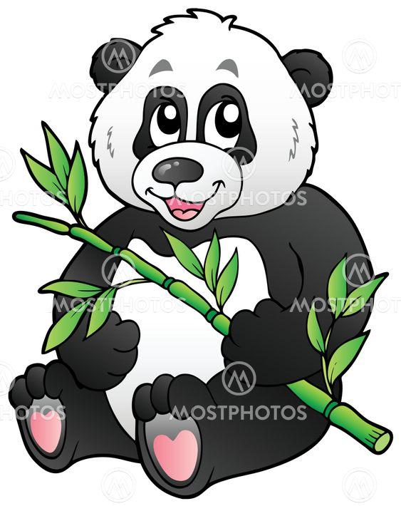 Cartoon Panda Eating Bamboo Od Klara Viskova Mostphotos
