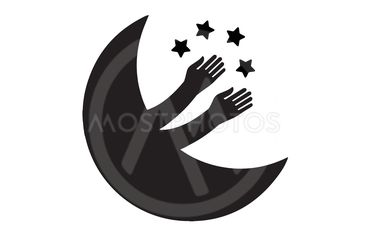 New moon plays with the stars.