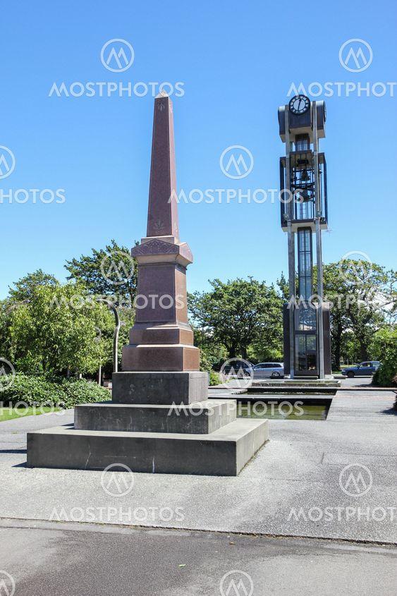 War memorial and clock tower.
