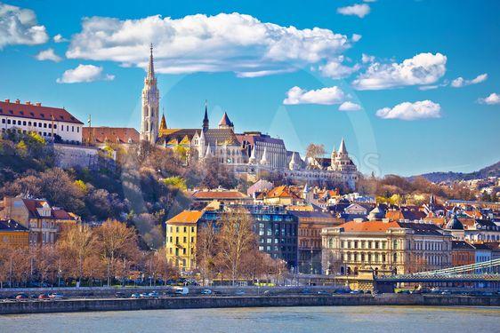 Budapest Danube river historic waterfront architecture...