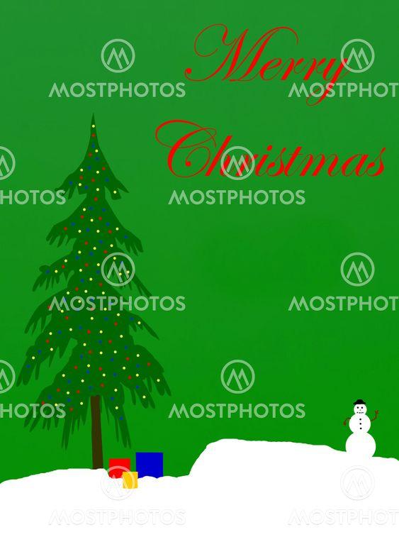 Julekort illustration på grønt