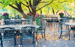 Tables of a street cafe on a background of autumn foliage.