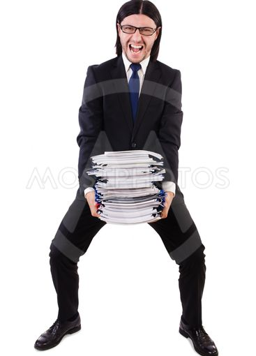 Funny man with lots of papers on white