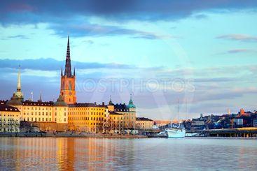 Stockholm city at dusk