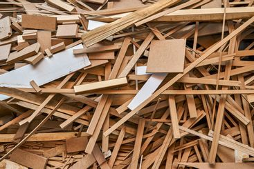 Waste production. Various pieces of wood, chipboard and...