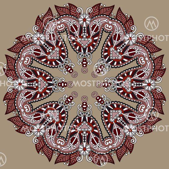 Circle lace ornament, round ornamental geometric doily...