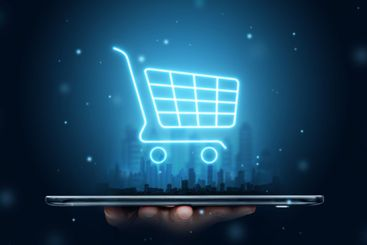 Phone and basket hologram. Online shopping, online store...