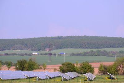 Solar panels in a field. solar power