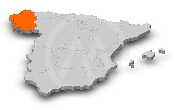 Map - Spain, Galicia - 3D-Illustration